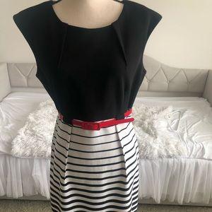 Work dress black & white w/red patent leather belt